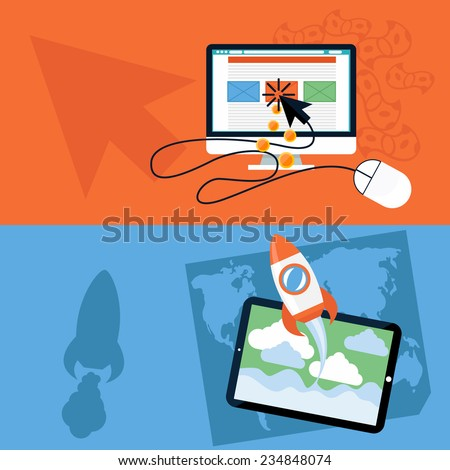 Flat design concept of new business project or new product start up and pay per click internet advertising. Raster version - stock photo