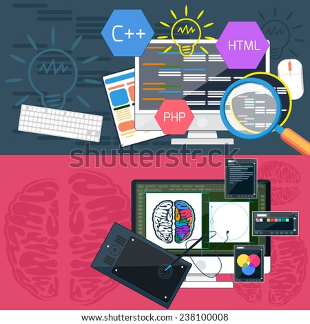 Flat design concept of program coding and graphic design. Raster version - stock photo