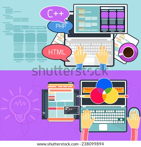 Flat design concept of program coding and web design. Raster version - stock photo