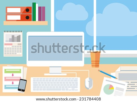 Flat design concept of workspace with computer and computer devices, smartphone, reports and clouds in the window. Raster version  - stock photo