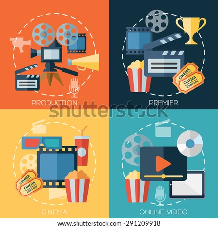 Flat design concepts for cinema, movie production, premier, online video. Concepts for web banners and promotional materials. - stock photo