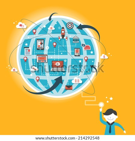 flat design for global communication concept over yellow - stock photo