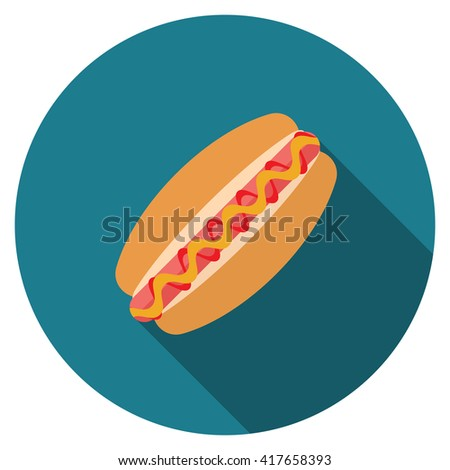 Flat design hotdog icon with long shadow, isolated.