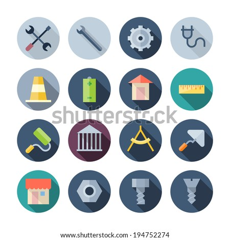 Flat Design Icons For Construction. Raster version. - stock photo