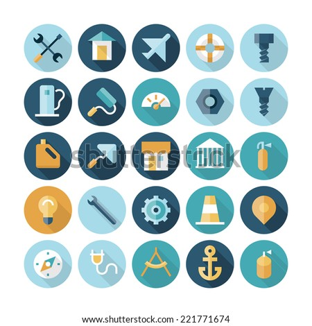 Flat design icons for industrial. - stock photo