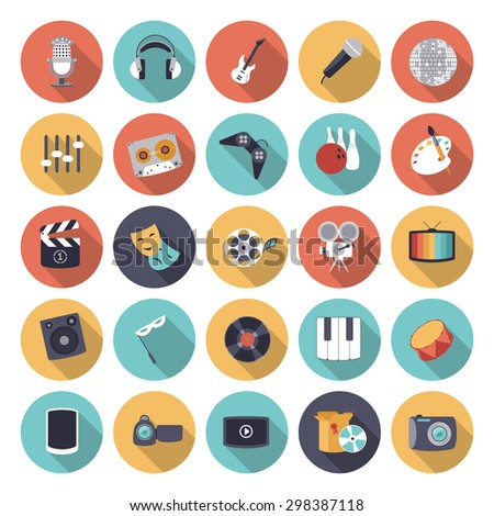 Flat design icons for leisure and entertainment. - stock photo