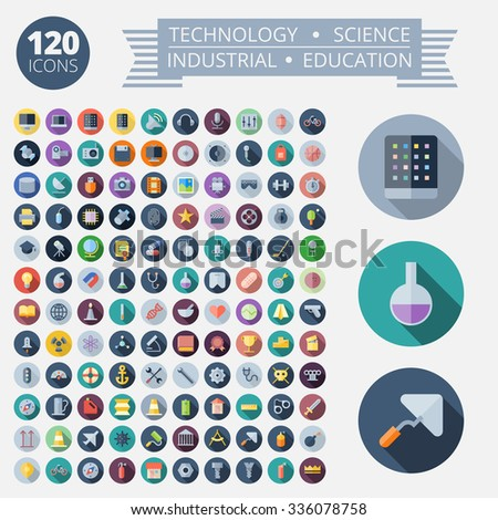 Flat Design Icons For Technology, Industrial, Science and Education - stock photo