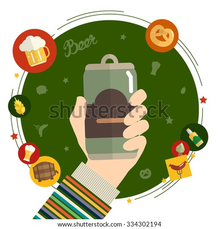Flat design illustration concept for oktoberfest. Hand hold beer can. Design template for card, letter, banner, flyer. Can by used to promote your products and services. Raster version
