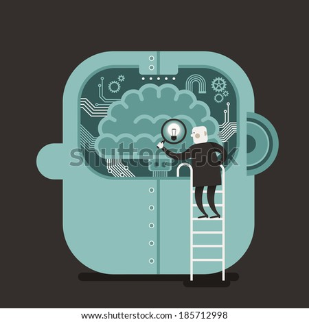 flat design illustration concept of brain searching - stock photo