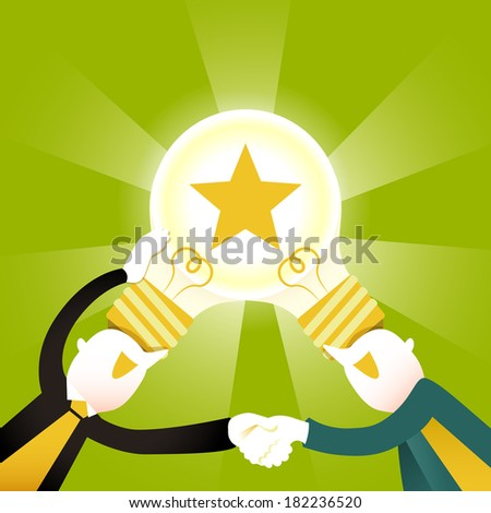 flat design illustration concept of creative collaboration - stock photo