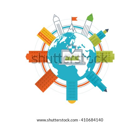 Flat design illustration concepts for business analysis and planning, financial report and strategy. Business diagram graph chart. Investment growth. Investment business. Property investment - stock photo