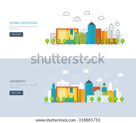Flat design modern illustration icons set of global education, online training courses, staff training, university, tutorials. School and university building icon. Urban landscape.