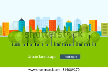 Flat design modern illustration icons set of urban landscape and city life. Building icon - stock photo