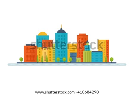 Flat design modern illustration icons set of urban landscape and city life. Building icon - stock photo
