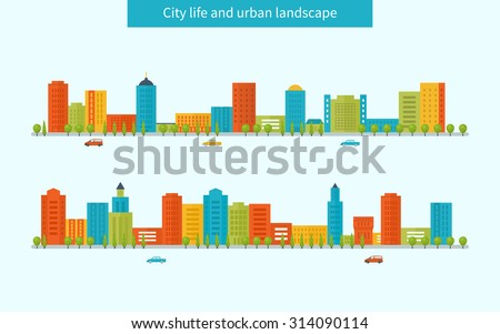 Flat design modern illustration icons set of urban landscape and city life. Buildings colorful icons - stock photo