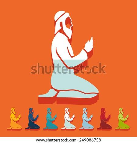 Flat design: muslim - stock photo