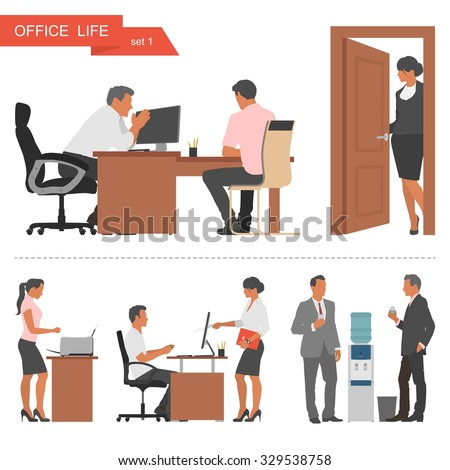Flat design of business people or office workers. People talking and working at the computers. Coffee break near cooler. Illustration isolated on white background. - stock photo
