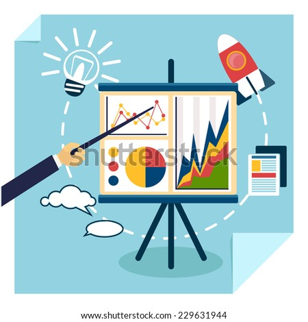 Flat design of presentation business development concept from good idea to successful startup. Hand with pointer points to tripod with chart graph. Raster version - stock photo