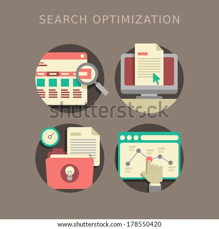flat design of the SEO website searching optimization process - stock photo