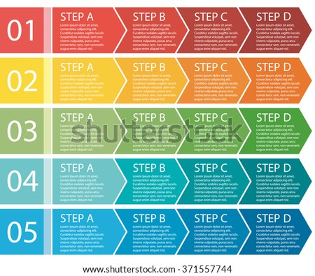 Flat design. Process arrows boxes. Step by step set. Four steps.  - stock photo