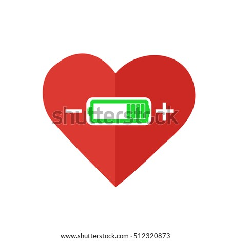 Flat design red hearts with battery charger sign. Valentine Love power concept.