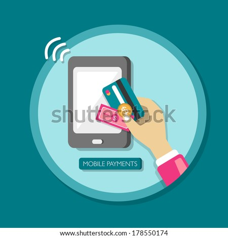 flat design smartphone with processing of mobile payments - stock photo