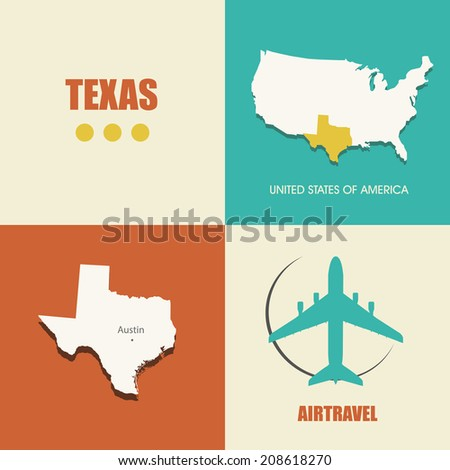 flat design with map Texas concept for air travel - stock photo