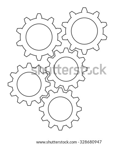 Flat designed contour gear icon. Cogwheel connection