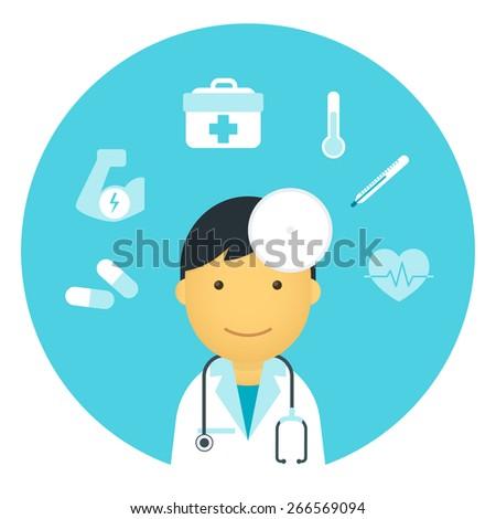 Flat doctor with medicine symbols around him - stock photo