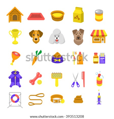Flat dog care colorful web icons, isolated on white. Simple conceptual bright colors symbols of nutrition, grooming and accessories of dogs. Pets infographics design elements - stock photo