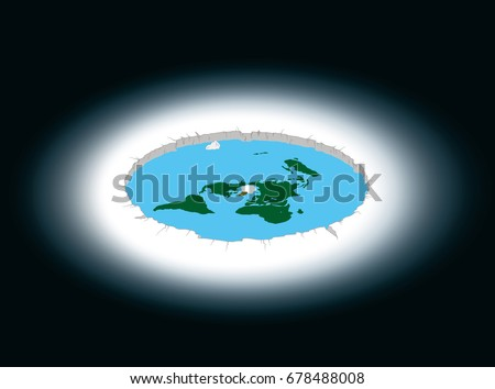 Flat Earth surrounded by Antarctica. Illustration