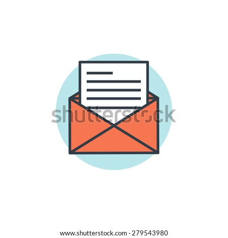 Flat email lined icon. - stock photo