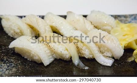 flat fish sushi - stock photo