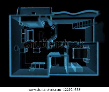 Flat from above (3D xray blue transparent) - stock photo