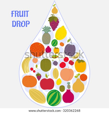 Flat fruit icons collected in the form of a drop. Rasterized version. - stock photo