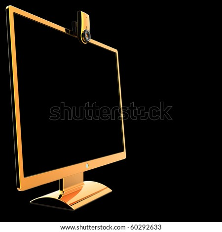 Flat golden lcd computer monitor with blank black screen. Web camera included. 3d render (Hi-Res). Isolated on black