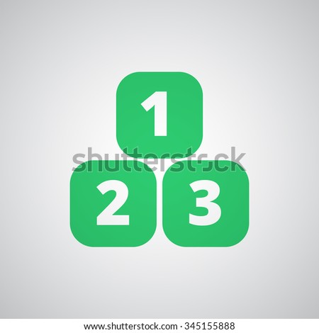 Flat green 123 Blocks icon  - stock photo