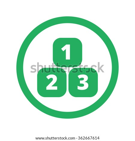 Flat green 123 Blocks icon and green circle - stock photo