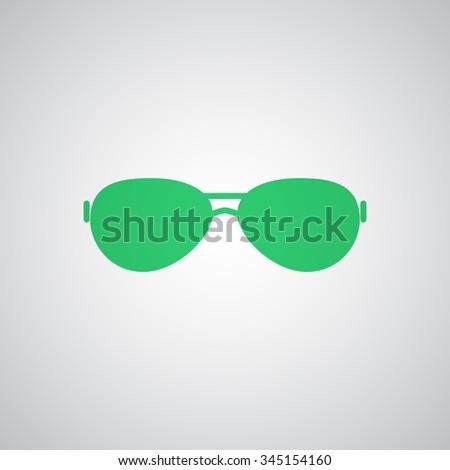 Flat green Sunglasses icon  - stock photo