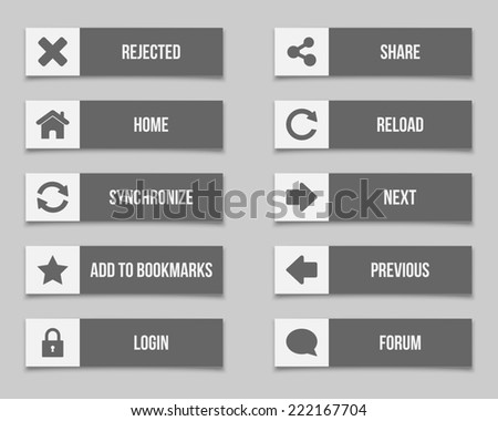 Flat grey buttons set. Vector available.