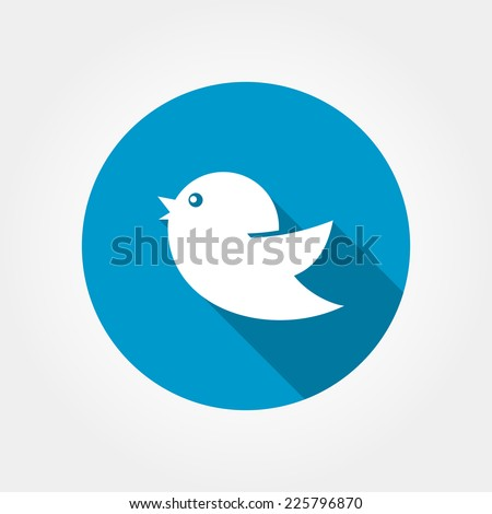 Flat icon birds with long shadow on the background of blue circle isolated on white. Bird web or internet icon - stock photo