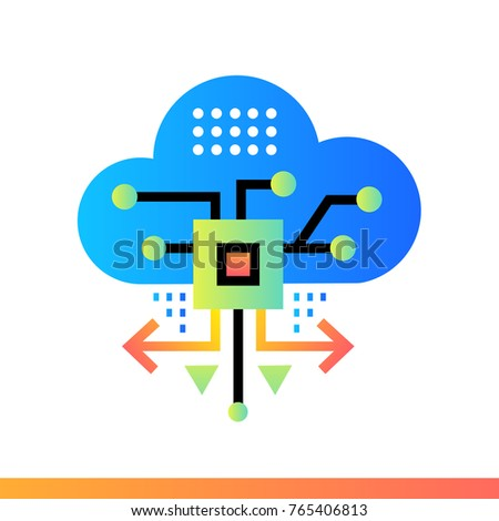 Flat Icon Cloud Based Architecture Data Science Technology And Machine Learning Process Material Design