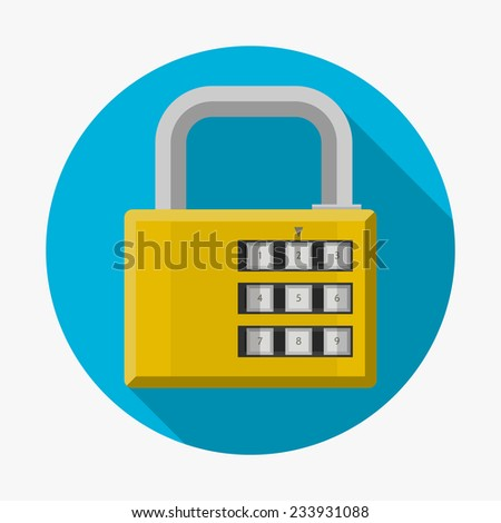 Flat icon for padlock. Yellow closed padlock with password on blue background with long shadow effect. Single flat circle icon on gray - stock photo
