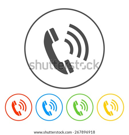 Flat icon of a phone.  illustrator - stock photo