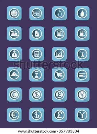 Flat icon set. Business icons. Digital background raster illustration. - stock photo