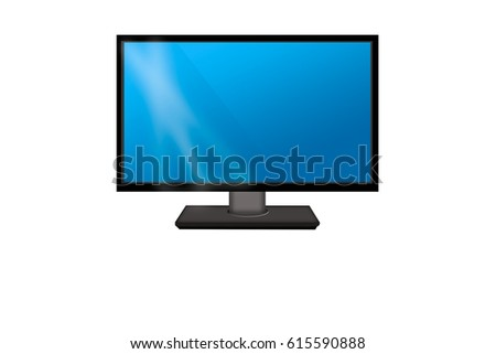 flat icon with monitor, isolated on white background