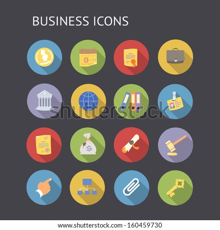 Flat icons for business and finance. Raster version. - stock photo