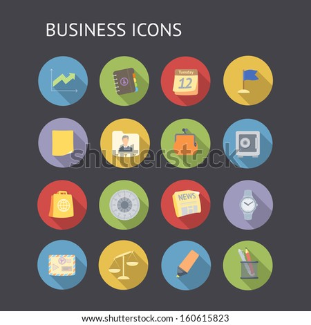 Flat icons for business and finance. Raster version.
