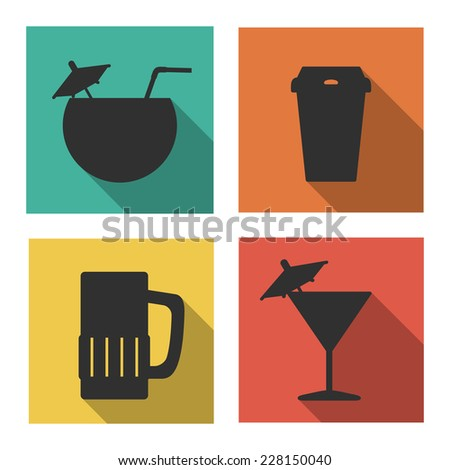 Flat icons for drinks. Isolated on white background - stock photo
