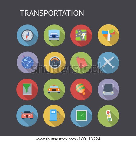 Flat icons for transportation. Raster version. - stock photo